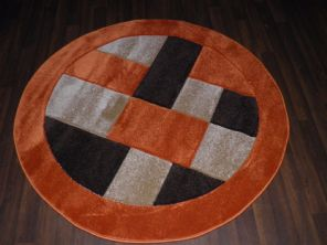 MODERN 140X140CM CIRCLE RUGS WOVEN BACK HAND CARVED BLOCKS RANGE TERRA/BROWNS